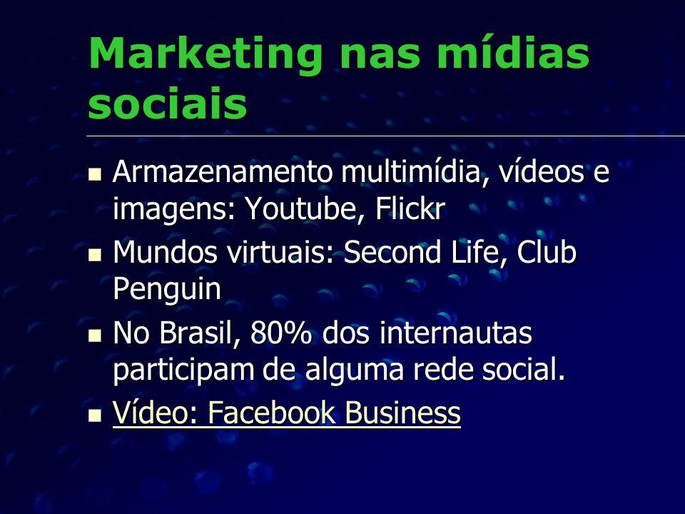 Marketing nas mídias sociais Armazenamento multimídia, vídeos e imagens: Youtube, Flickr Armazenamento multimídia, vídeos e imagens: Youtube, Flickr M