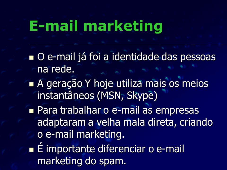 O e-mail já foi a identidade das pessoas na rede. O e-mail já foi a identidade das pessoas na rede. A geração Y hoje utiliza mais os meios instantâneo