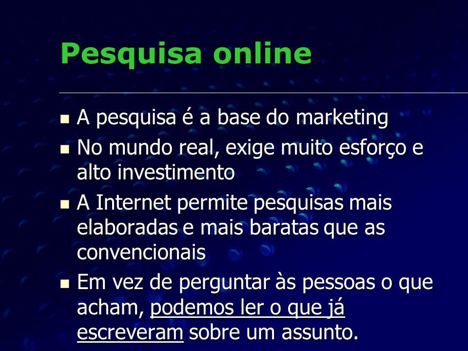 Pesquisa online A pesquisa é a base do marketing A pesquisa é a base do marketing No mundo real, exige muito esforço e alto investimento No mundo real