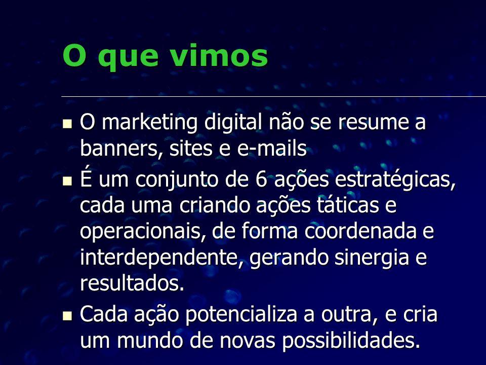 O que vimos O marketing digital não se resume a banners, sites e e-mails O marketing digital não se resume a banners, sites e e-mails É um conjunto de