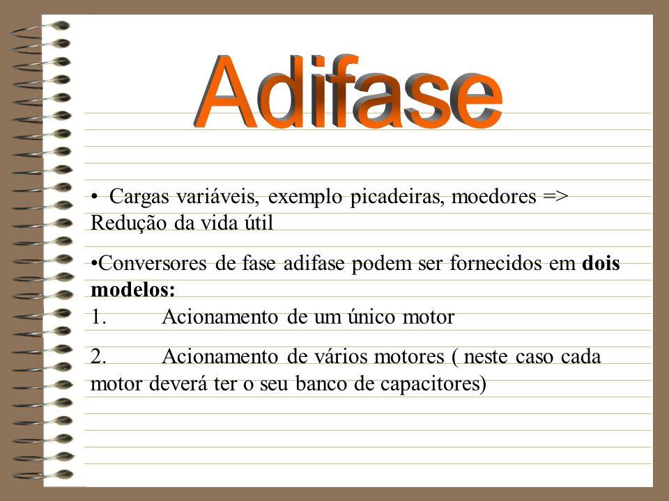 Cargas variáveis, exemplo picadeiras, moedores => Redução da vida útil Conversores de fase adifase podem ser fornecidos em dois modelos: 1. Acionament
