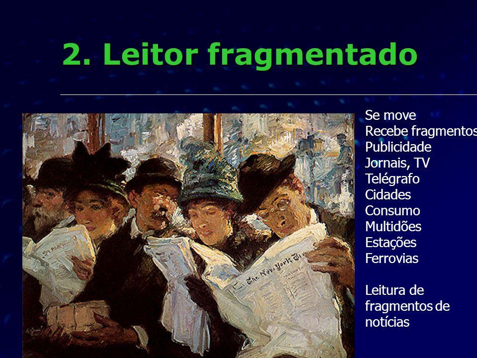 2. Leitor fragmentado Se move Recebe fragmentos Publicidade Jornais, TV Telégrafo Cidades Consumo Multidões Estações Ferrovias Leitura de fragmentos d