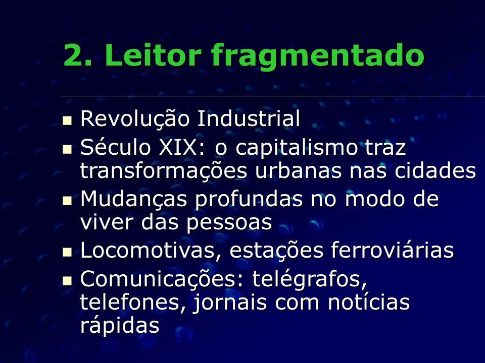 2. Leitor fragmentado Revolução Industrial Revolução Industrial Século XIX: o capitalismo traz transformações urbanas nas cidades Século XIX: o capita