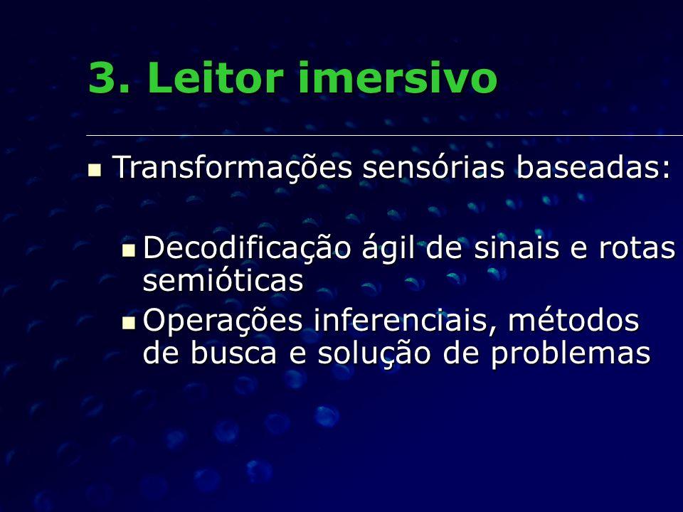 Transformações sensórias baseadas: Transformações sensórias baseadas: Decodificação ágil de sinais e rotas semióticas Decodificação ágil de sinais e r