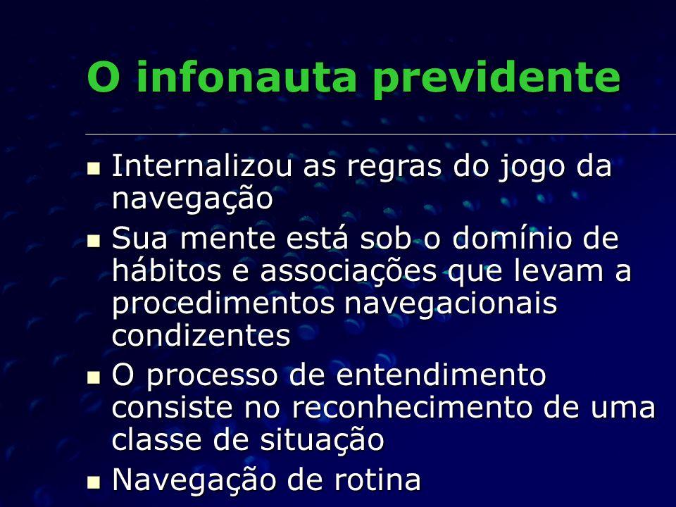 O infonauta previdente Internalizou as regras do jogo da navegação Internalizou as regras do jogo da navegação Sua mente está sob o domínio de hábitos