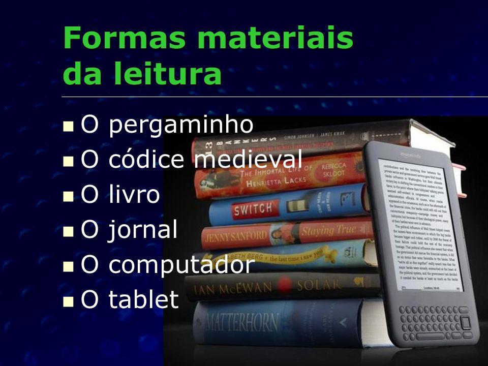 Formas materiais da leitura O pergaminho O códice medieval O livro O jornal O computador O tablet