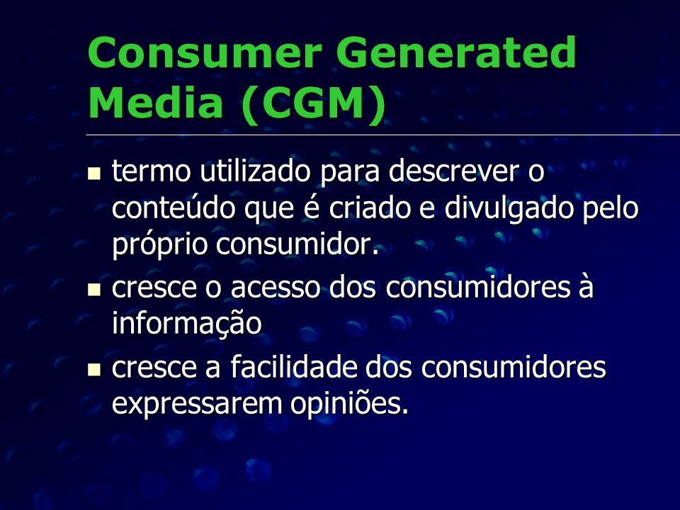 Consumer Generated Media (CGM) termo utilizado para descrever o conteúdo que é criado e divulgado pelo próprio consumidor. termo utilizado para descre