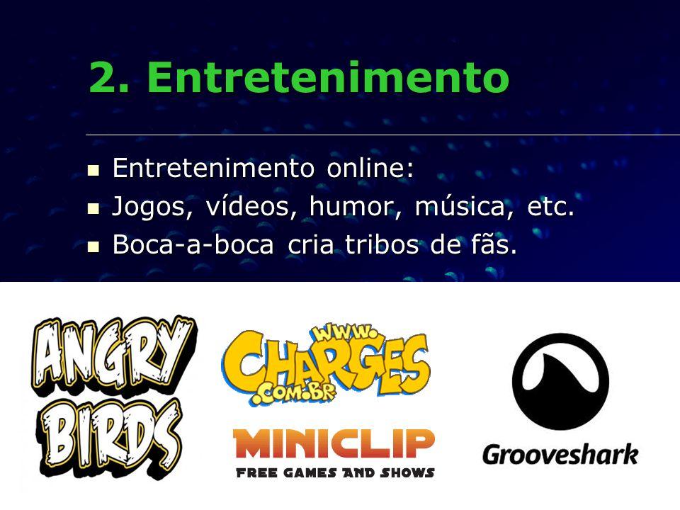 2. Entretenimento Entretenimento online: Entretenimento online: Jogos, vídeos, humor, música, etc. Jogos, vídeos, humor, música, etc. Boca-a-boca cria