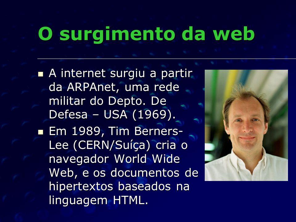 O surgimento da web A internet surgiu a partir da ARPAnet, uma rede militar do Depto. De Defesa – USA (1969). A internet surgiu a partir da ARPAnet, u