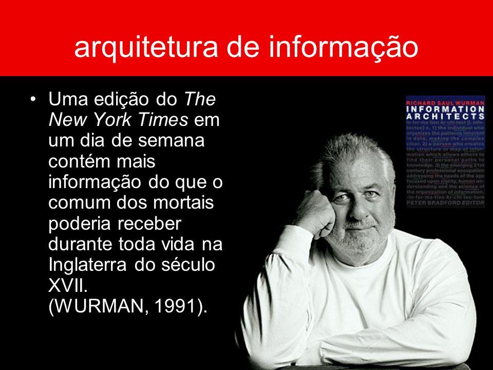 arquitetura de informação Uma edição do The New York Times em um dia de semana contém mais informação do que o comum dos mortais poderia receber duran