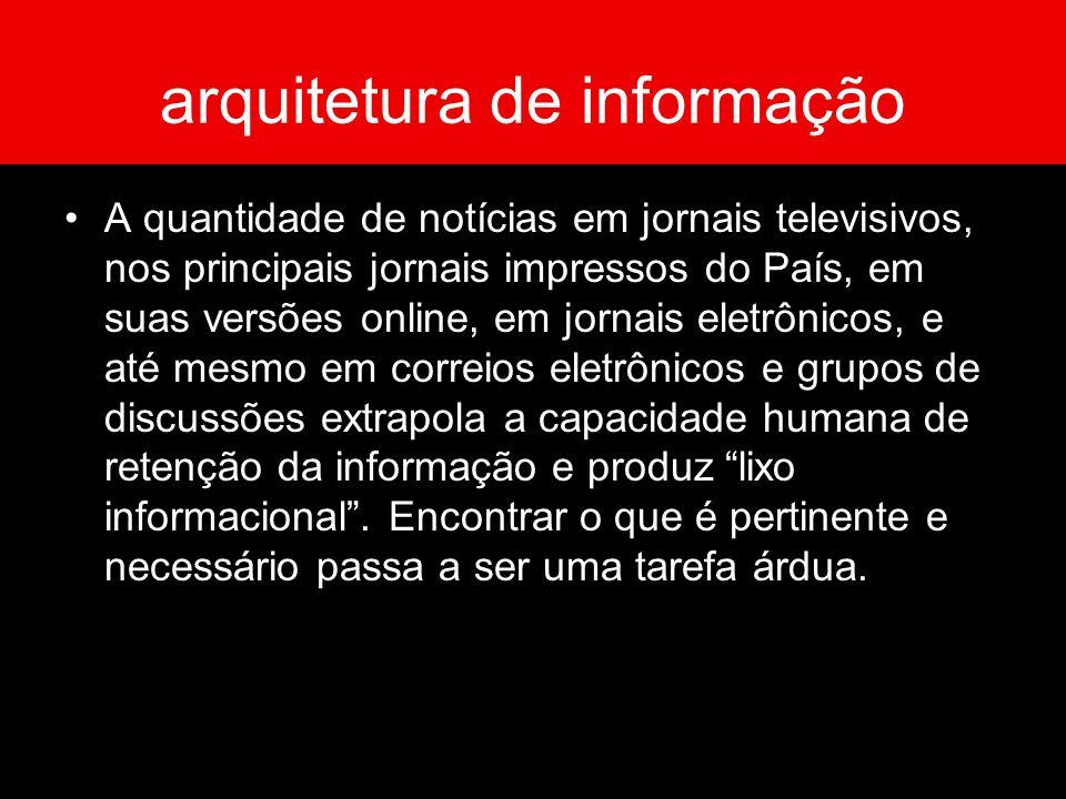 arquitetura de informação A quantidade de notícias em jornais televisivos, nos principais jornais impressos do País, em suas versões online, em jornai