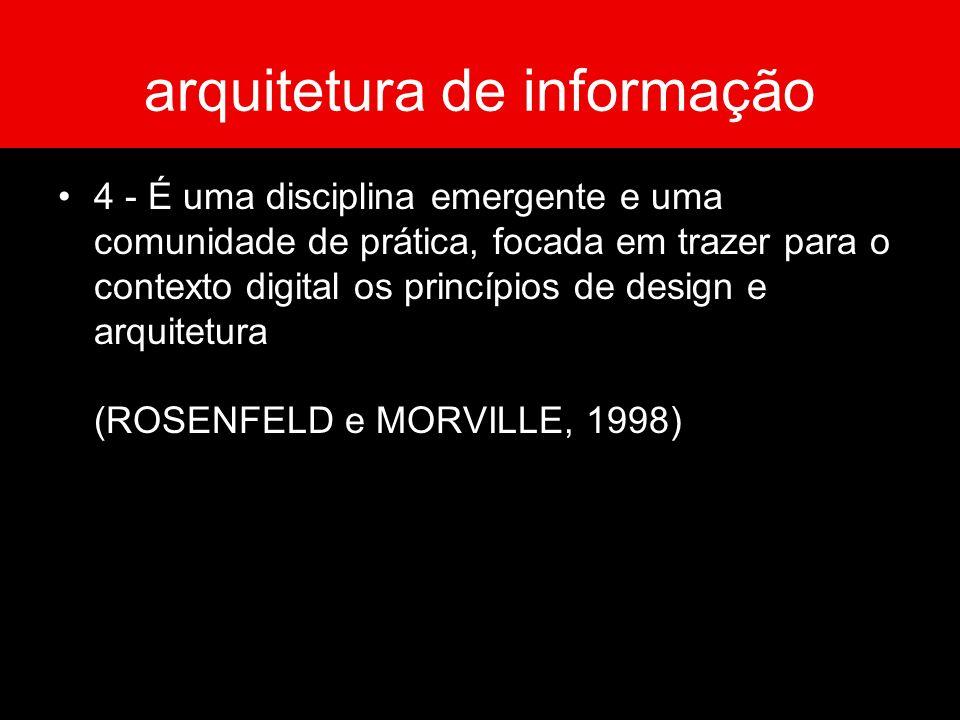 arquitetura de informação 4 - É uma disciplina emergente e uma comunidade de prática, focada em trazer para o contexto digital os princípios de design