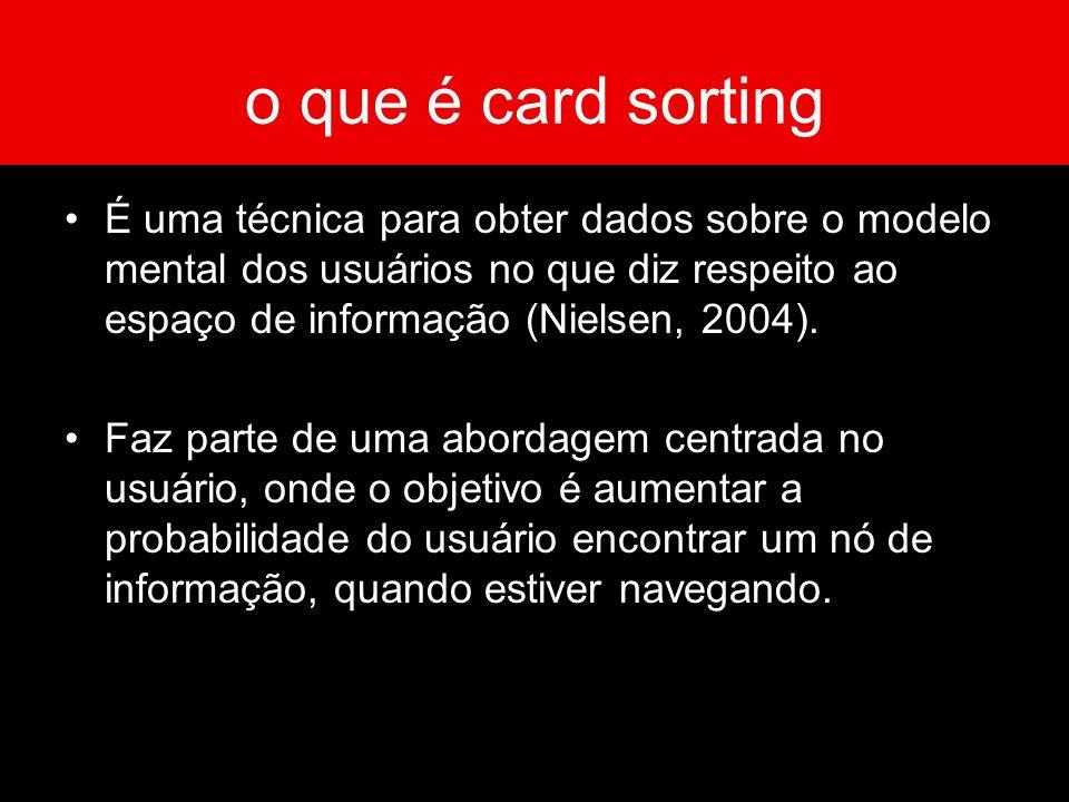 o que é card sorting É uma técnica para obter dados sobre o modelo mental dos usuários no que diz respeito ao espaço de informação (Nielsen, 2004). Fa