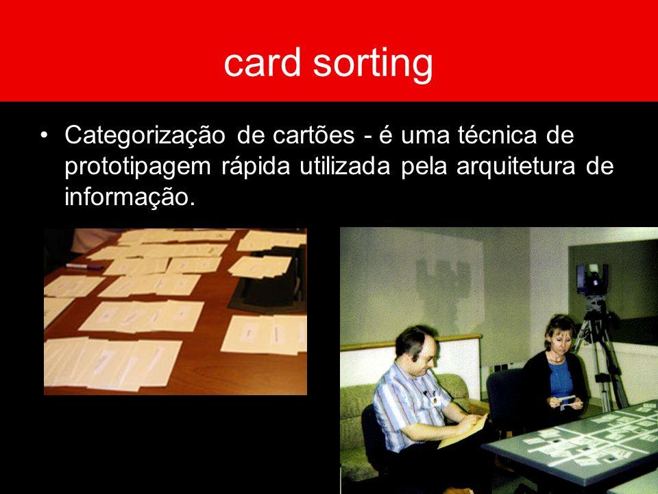card sorting Categorização de cartões - é uma técnica de prototipagem rápida utilizada pela arquitetura de informação.
