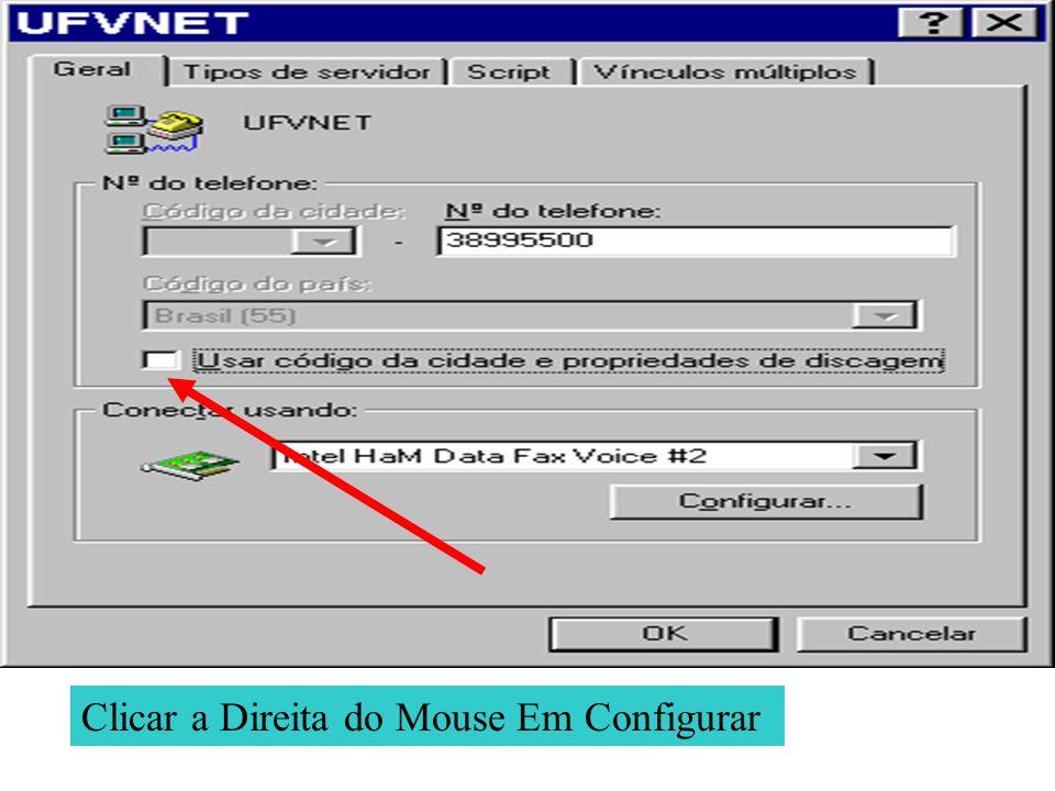 Clicar a Direita do Mouse Em Configurar