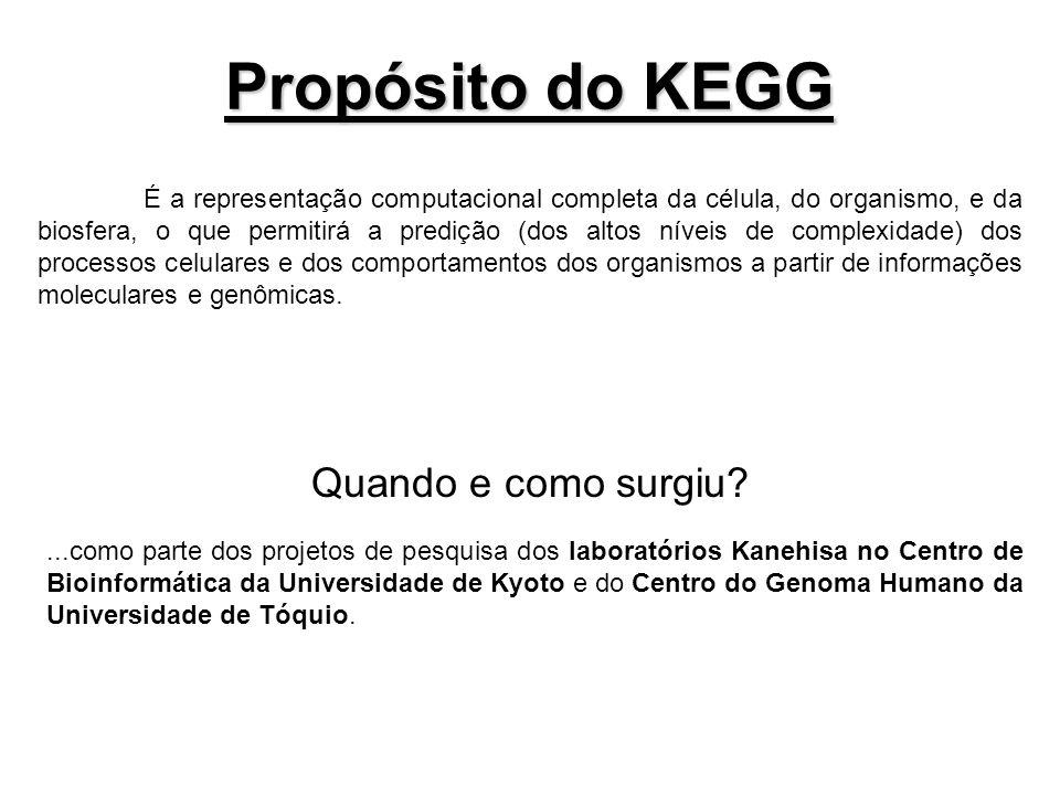 Propósito do KEGG É a representação computacional completa da célula, do organismo, e da biosfera, o que permitirá a predição (dos altos níveis de com