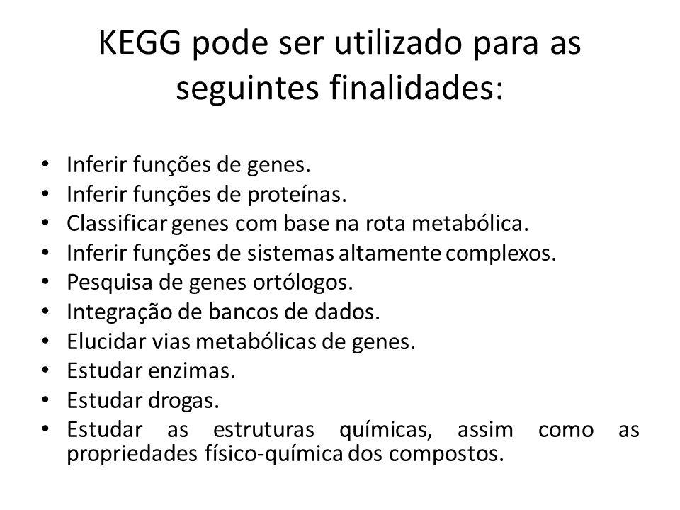 KEGG pode ser utilizado para as seguintes finalidades: Inferir funções de genes. Inferir funções de proteínas. Classificar genes com base na rota meta