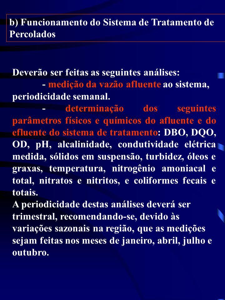 b) Funcionamento do Sistema de Tratamento de Percolados Deverão ser feitas as seguintes análises: - medição da vazão afluente ao sistema, periodicidad