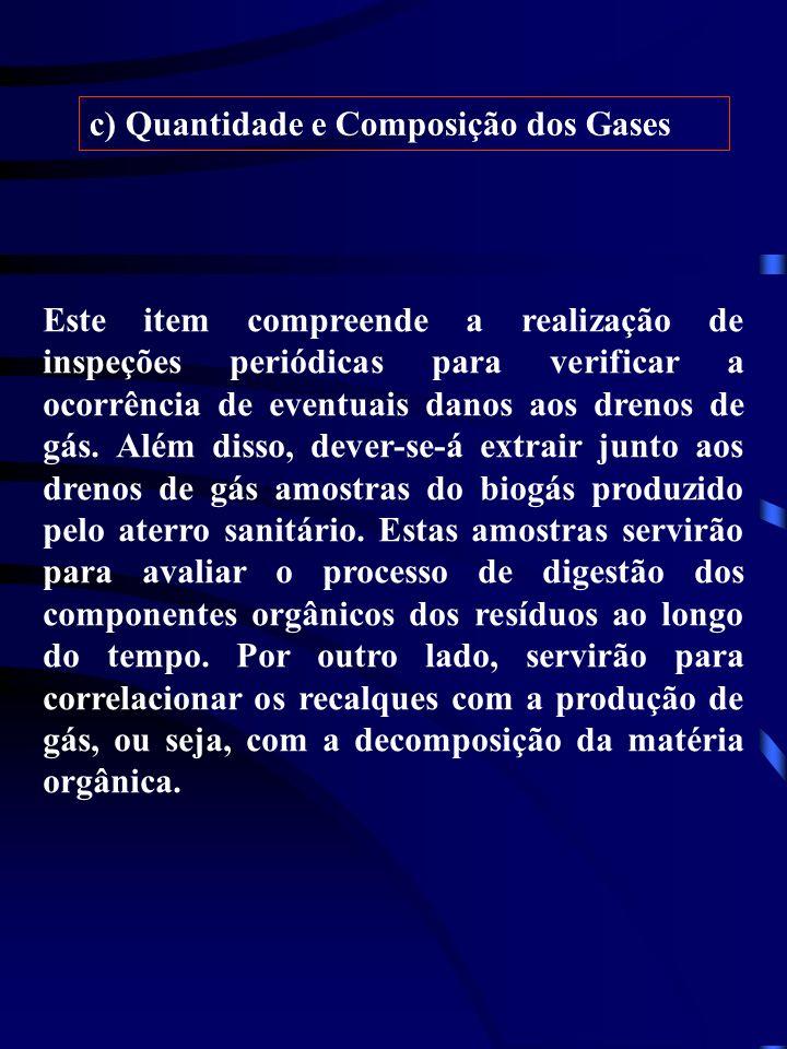c) Quantidade e Composição dos Gases Este item compreende a realização de inspeções periódicas para verificar a ocorrência de eventuais danos aos dren