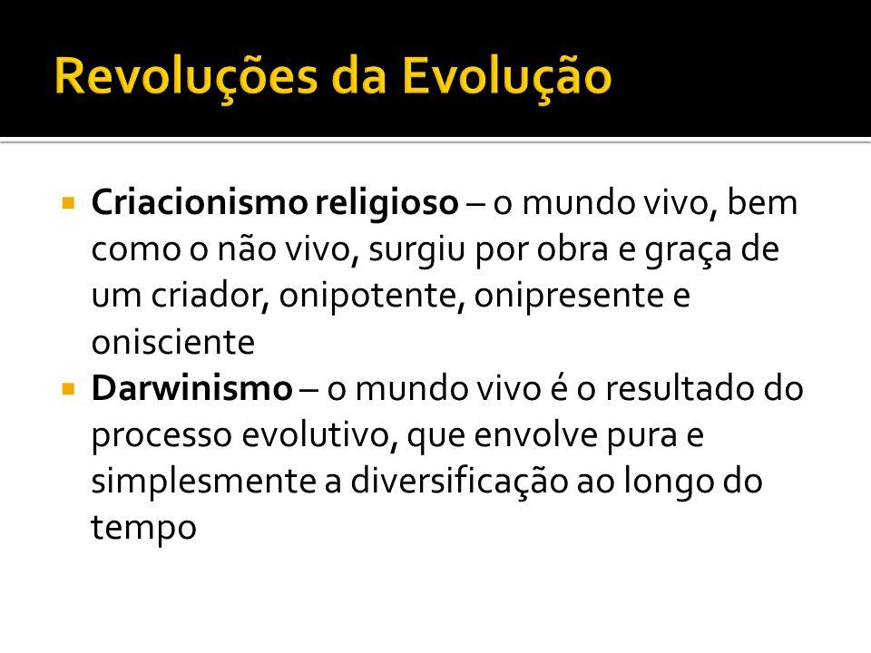 Criacionismo religioso – o mundo vivo, bem como o não vivo, surgiu por obra e graça de um criador, onipotente, onipresente e onisciente Darwinismo – o