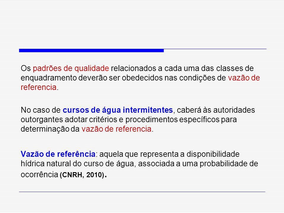 Os padrões de qualidade relacionados a cada uma das classes de enquadramento deverão ser obedecidos nas condições de vazão de referencia. No caso de c