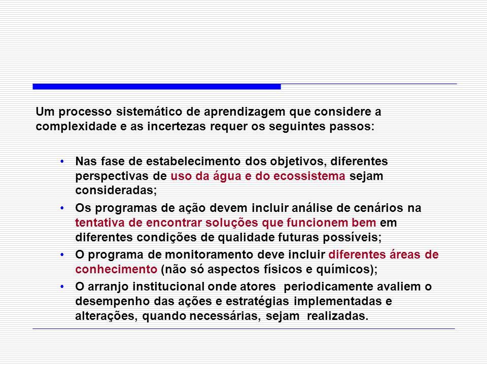 Um processo sistemático de aprendizagem que considere a complexidade e as incertezas requer os seguintes passos: Nas fase de estabelecimento dos objet