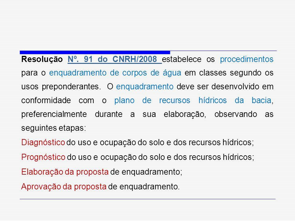 Resolução Nº. 91 do CNRH/2008 estabelece os procedimentos para o enquadramento de corpos de água em classes segundo os usos preponderantes. O enquadra