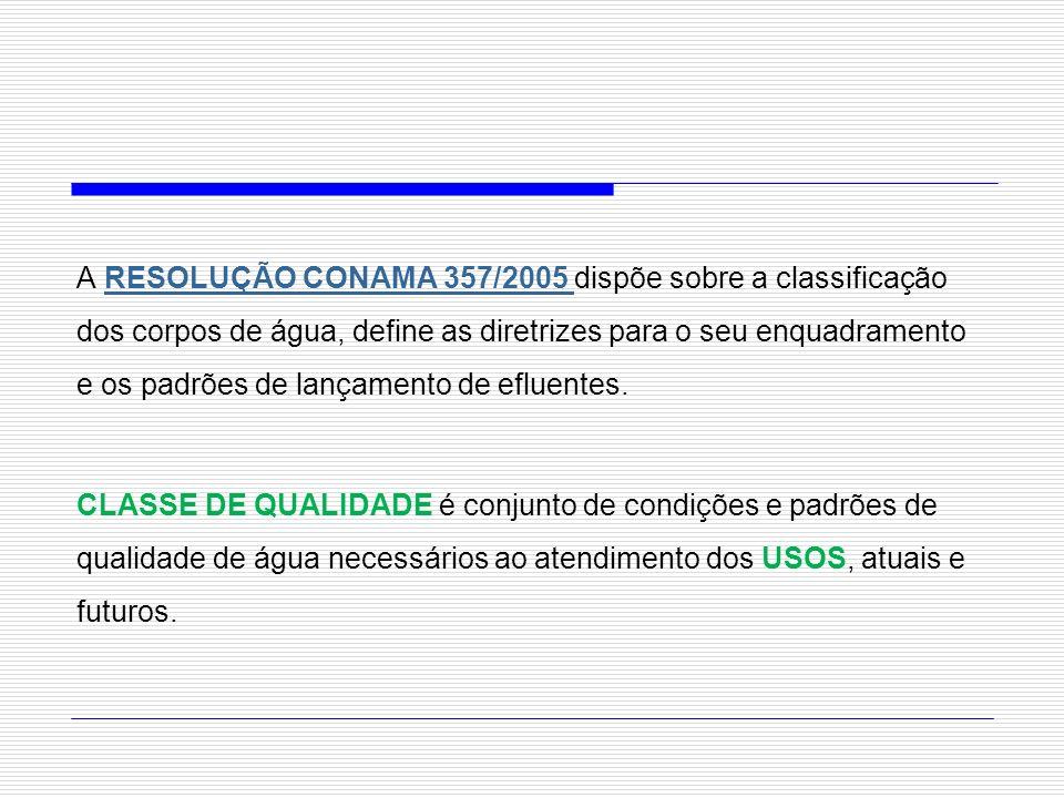 A RESOLUÇÃO CONAMA 357/2005 dispõe sobre a classificação dos corpos de água, define as diretrizes para o seu enquadramento e os padrões de lançamento