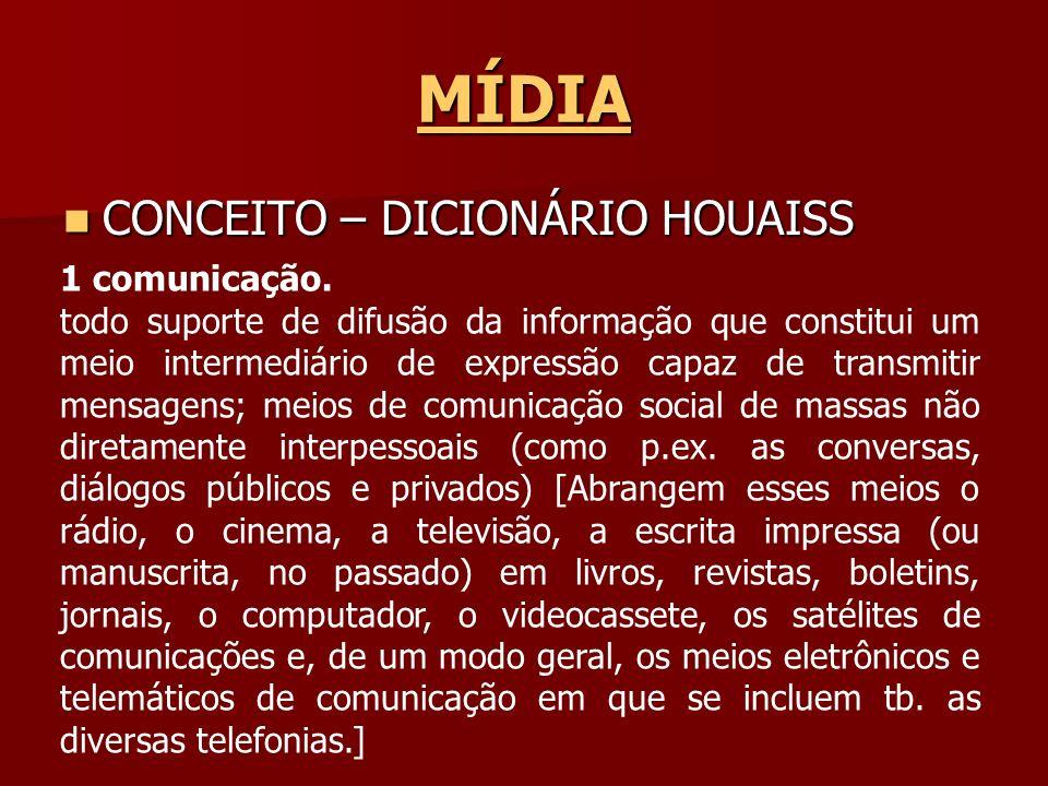 MÍDIA CONCEITO – DICIONÁRIO HOUAISS CONCEITO – DICIONÁRIO HOUAISS 1 comunicação. todo suporte de difusão da informação que constitui um meio intermedi