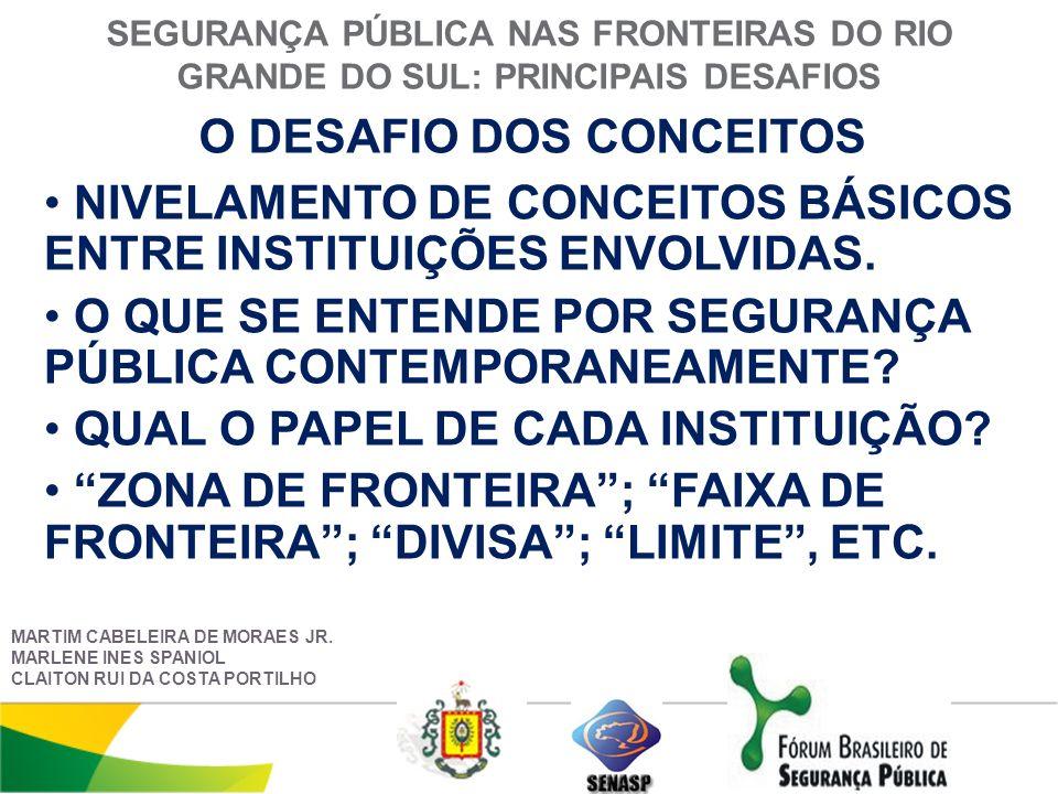SEGURANÇA PÚBLICA NAS FRONTEIRAS DO RIO GRANDE DO SUL: PRINCIPAIS DESAFIOS O DESAFIO DOS CONCEITOS MARTIM CABELEIRA DE MORAES JR.