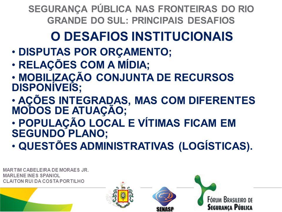 SEGURANÇA PÚBLICA NAS FRONTEIRAS DO RIO GRANDE DO SUL: PRINCIPAIS DESAFIOS O DESAFIOS INSTITUCIONAIS MARTIM CABELEIRA DE MORAES JR.