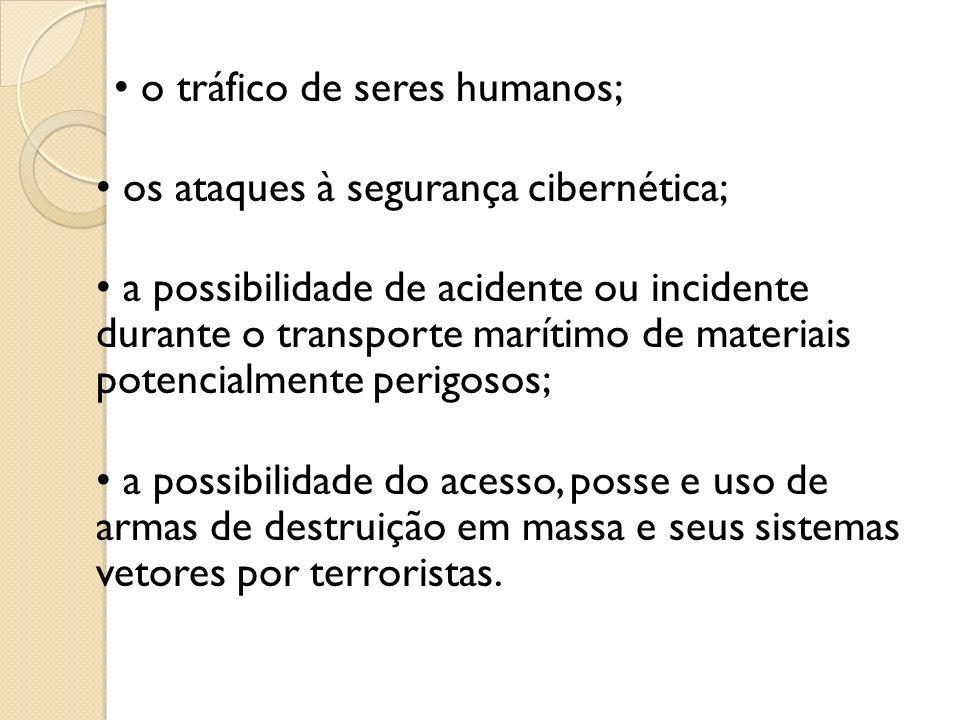 o tráfico de seres humanos; os ataques à segurança cibernética; a possibilidade de acidente ou incidente durante o transporte marítimo de materiais po