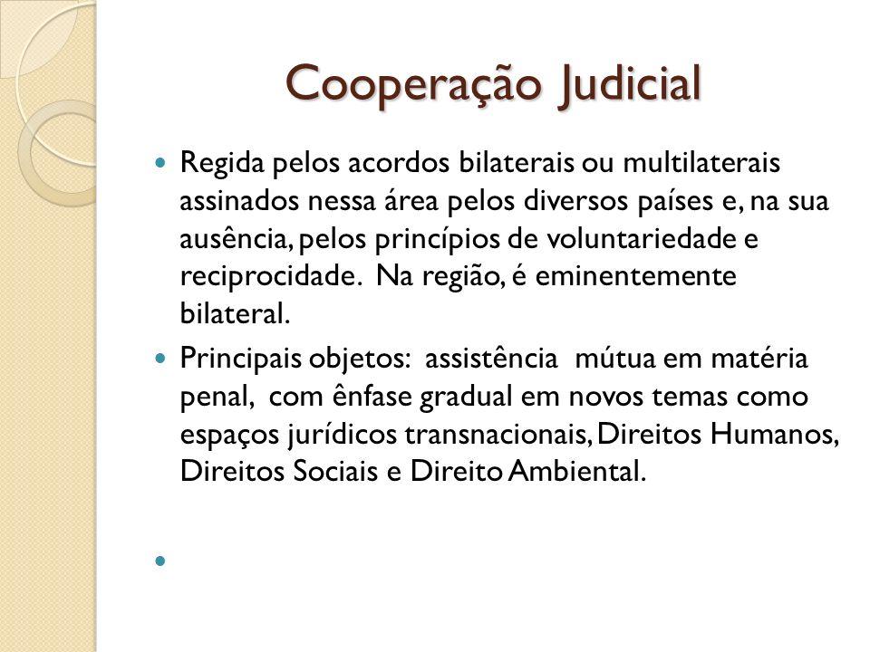 Cooperação Judicial Regida pelos acordos bilaterais ou multilaterais assinados nessa área pelos diversos países e, na sua ausência, pelos princípios d
