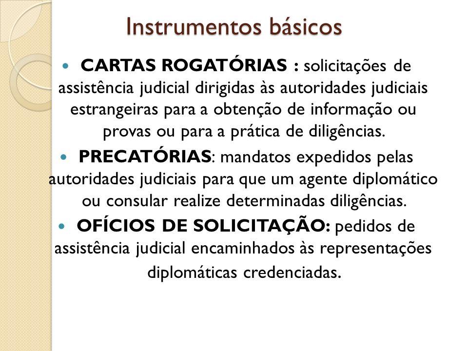 Instrumentos básicos CARTAS ROGATÓRIAS : solicitações de assistência judicial dirigidas às autoridades judiciais estrangeiras para a obtenção de infor