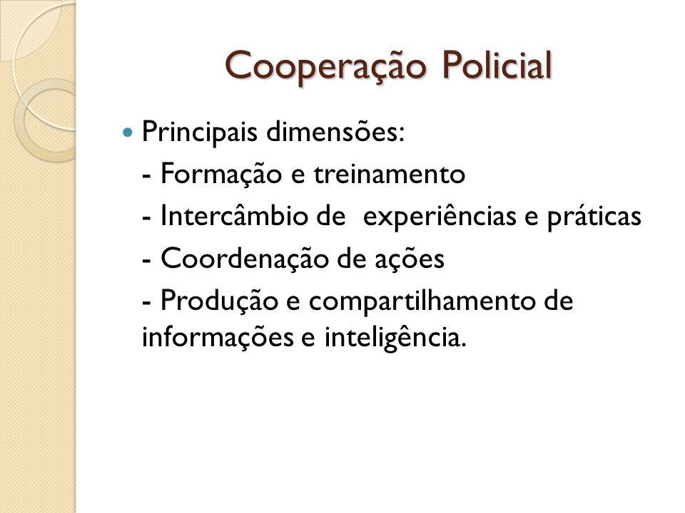Cooperação Policial Principais dimensões: - Formação e treinamento - Intercâmbio de experiências e práticas - Coordenação de ações - Produção e compar