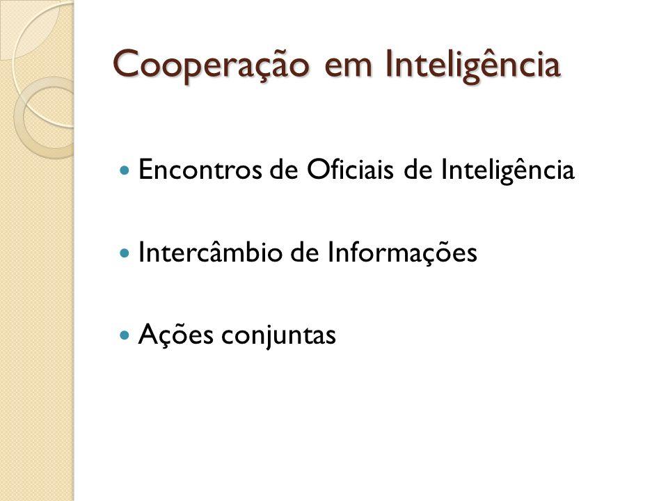 Cooperação em Inteligência Encontros de Oficiais de Inteligência Intercâmbio de Informações Ações conjuntas