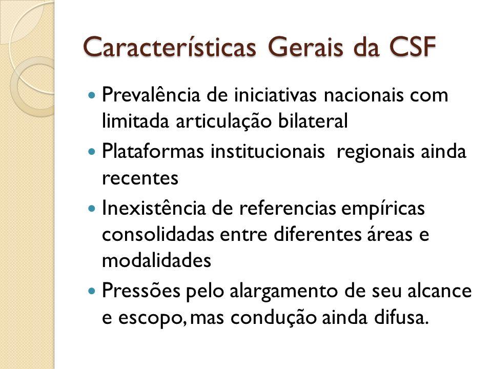 Características Gerais da CSF Prevalência de iniciativas nacionais com limitada articulação bilateral Plataformas institucionais regionais ainda recen