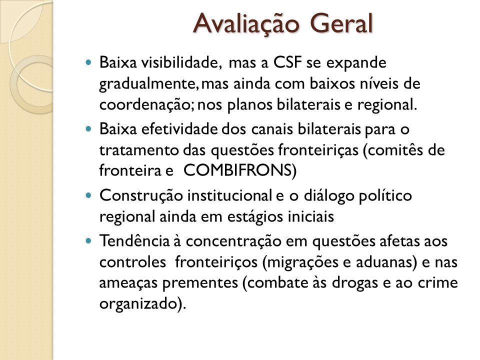 Avaliação Geral Baixa visibilidade, mas a CSF se expande gradualmente, mas ainda com baixos níveis de coordenação; nos planos bilaterais e regional. B