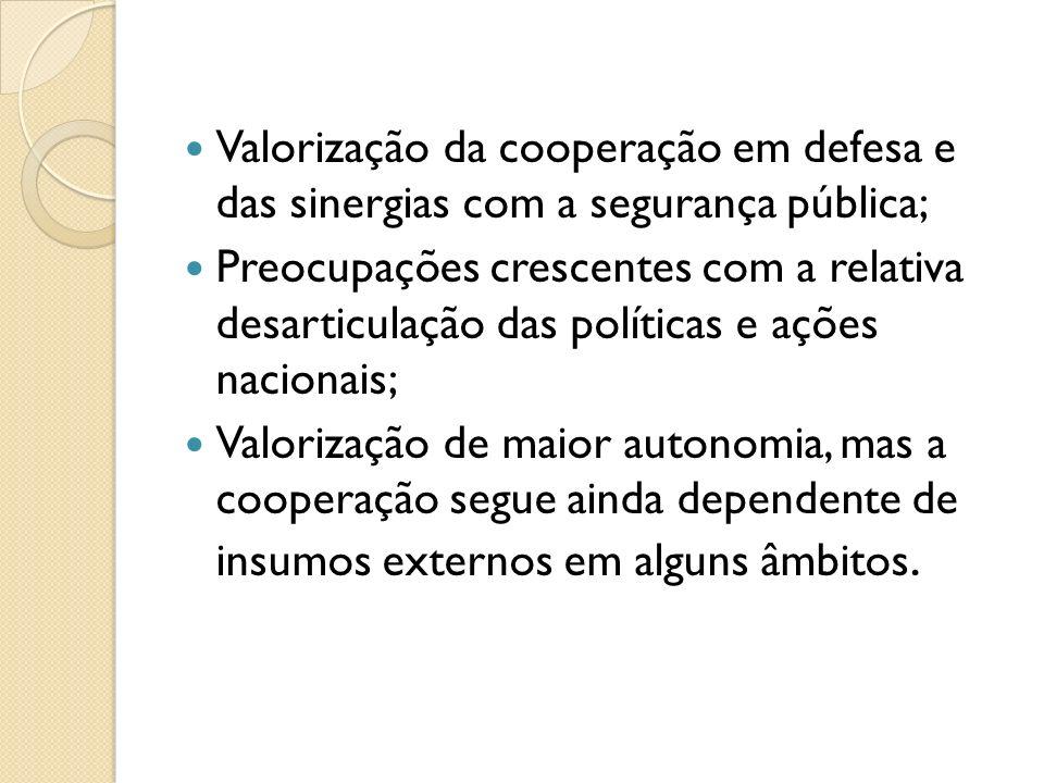 Valorização da cooperação em defesa e das sinergias com a segurança pública; Preocupações crescentes com a relativa desarticulação das políticas e açõ