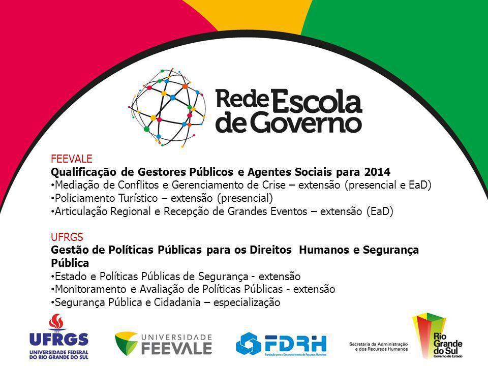 Monitoramento e Avaliação de Políticas Públicas Duração: 60 horas Público: servidores públicos estaduais (1 turma em 2012 e outra em 2013).