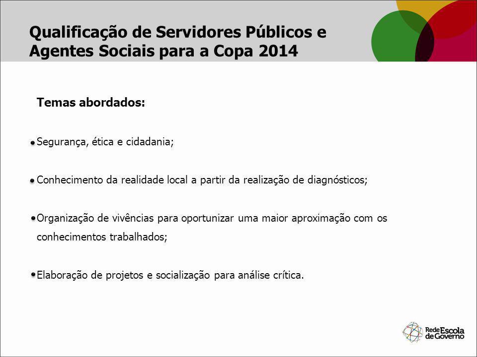 Temas abordados: Segurança, ética e cidadania; Conhecimento da realidade local a partir da realização de diagnósticos; Organização de vivências para o