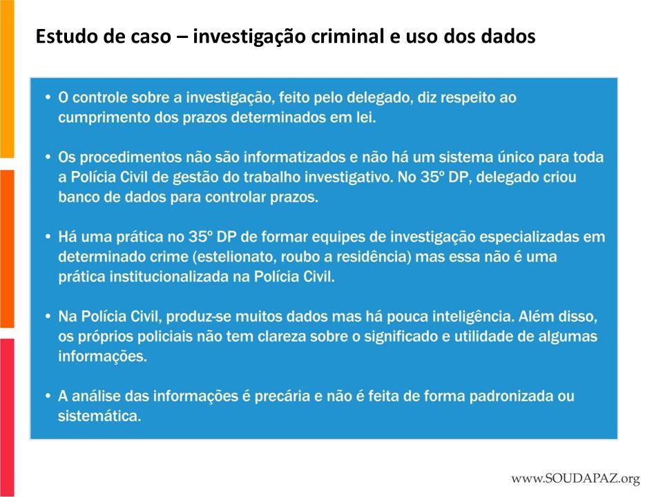 Estudo de caso – investigação criminal e uso dos dados