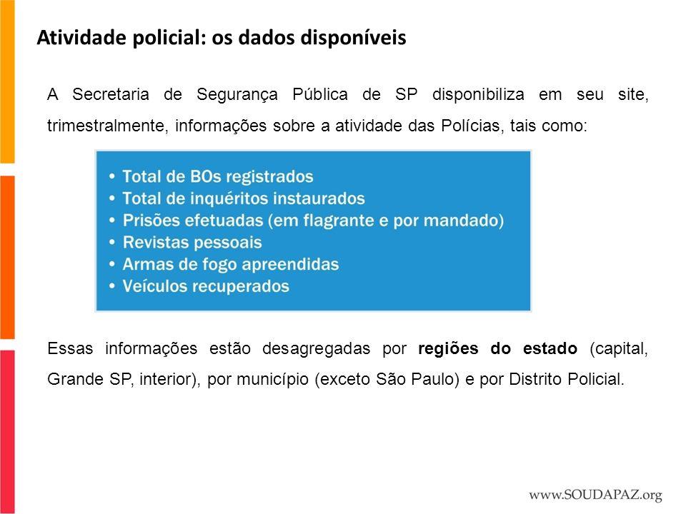 Atividade policial: os dados disponíveis A Secretaria de Segurança Pública de SP disponibiliza em seu site, trimestralmente, informações sobre a ativi