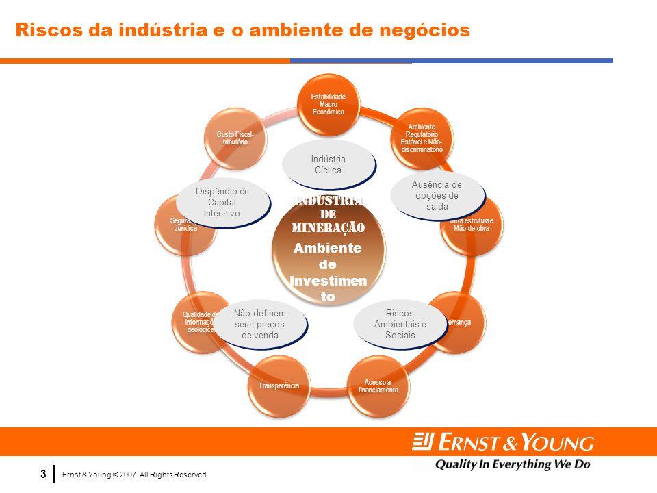 Ernst & Young © 2007. All Rights Reserved. 3 Indústria de Mineração Ambiente de Investimen to Estabilidade Macro Econômica Ambiente Regulatório Estáve