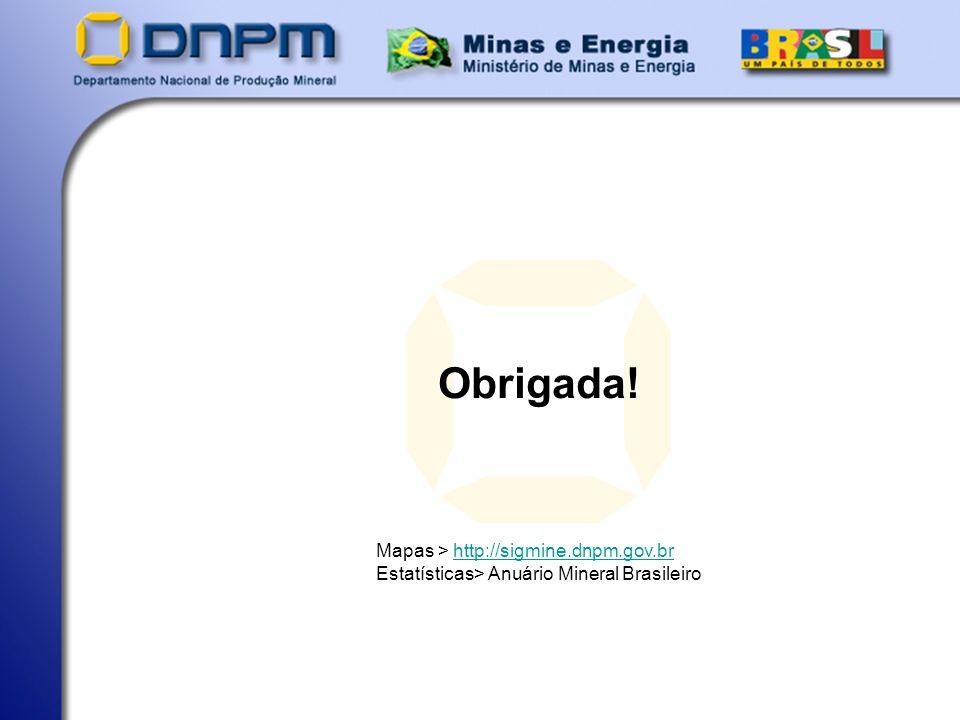 Obrigada! Mapas > http://sigmine.dnpm.gov.brhttp://sigmine.dnpm.gov.br Estatísticas> Anuário Mineral Brasileiro
