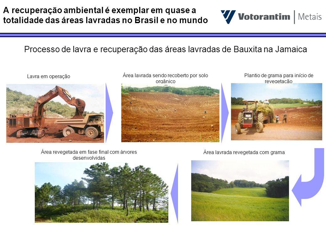A recuperação ambiental é exemplar em quase a totalidade das áreas lavradas no Brasil e no mundo Lavra em operação Área lavrada sendo recoberto por so