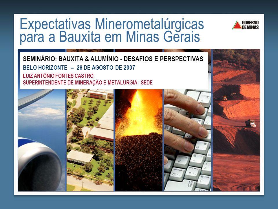 Produção (t) Consumo Doméstico (t) Exportação (t) BrasilMG Bauxita22.034.60013.043.2007.508.700150.441 Alumina5.191.1003.019.5002.327.10032.280 Alumínio primário1.497.600(1)753.100 Produtos transf.