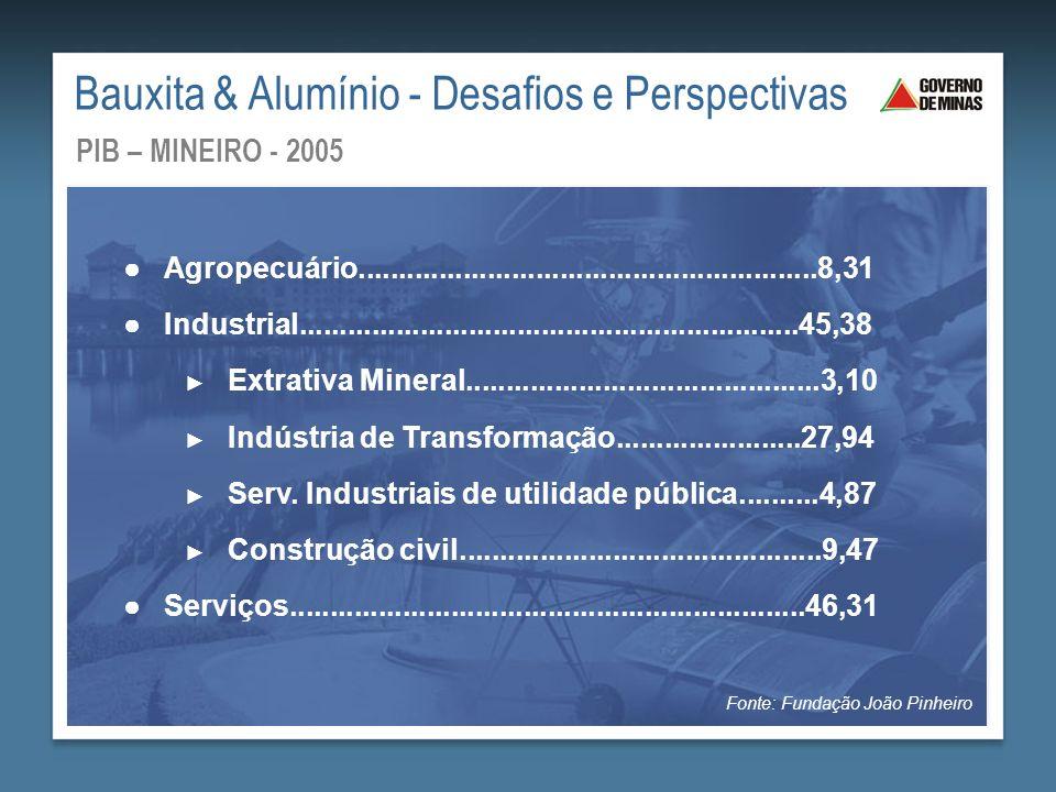 44,97 12,69 3,60 11,91 1,72 3,92 4,35 1,98 7,3 7,56 PIB POR REGIÃO (em %) - 2005 Bauxita & Alumínio - Desafios e Perspectivas