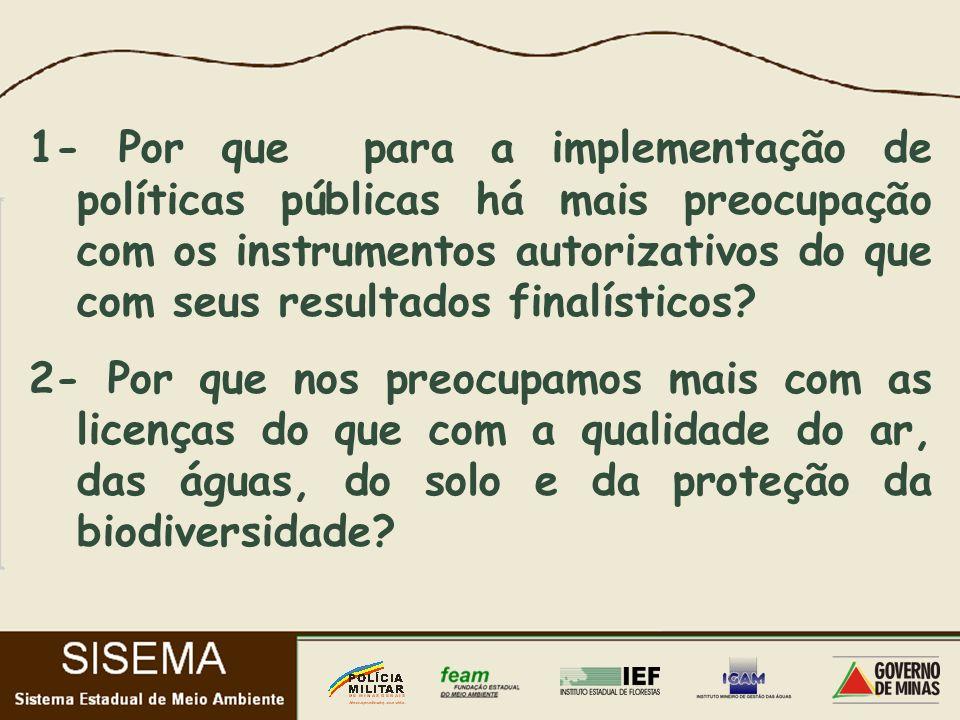 1- Por que para a implementação de políticas públicas há mais preocupação com os instrumentos autorizativos do que com seus resultados finalísticos.
