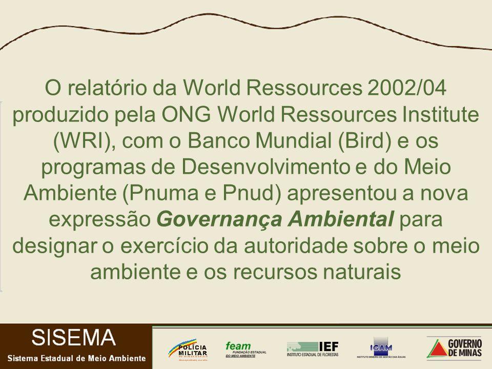 O relatório da World Ressources 2002/04 produzido pela ONG World Ressources Institute (WRI), com o Banco Mundial (Bird) e os programas de Desenvolvimento e do Meio Ambiente (Pnuma e Pnud) apresentou a nova expressão Governança Ambiental para designar o exercício da autoridade sobre o meio ambiente e os recursos naturais